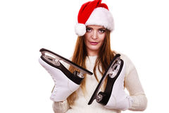 Girl with santa claus cap. Royalty Free Stock Photography