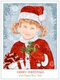 Girl  in Santa Claus clothes Stock Photo