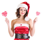 Girl in Santa Claus clothes Stock Images