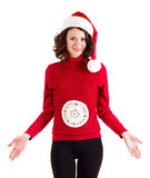 Girl in Santa Claus clothes Royalty Free Stock Photo