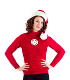 Girl in Santa Claus clothes Royalty Free Stock Images