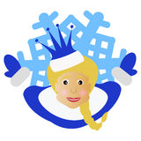 The girl Santa Claus with a crown in the form of  snowflake an icon. on  white fone.dlya  the press, undershirts, t-shirts, fabric. The girl Santa Claus with a Royalty Free Stock Image