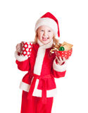 Girl in the santa claus hat Royalty Free Stock Image