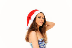 Girl with santa claus hat Royalty Free Stock Photo