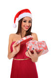 Girl with santa claus hat Royalty Free Stock Photography