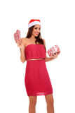 Girl with santa claus hat Royalty Free Stock Photos