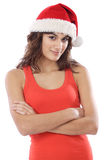Girl with Santa Claus hat Stock Images