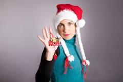 Girl Santa Claus Stock Photo