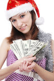 Girl Santa Claus with money Stock Photos
