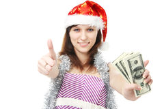 Girl Santa Claus offers money Stock Photos