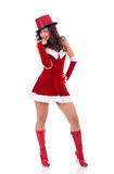 Girl in santa claus suit Stock Image