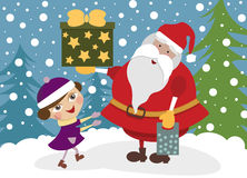 Girl with Santa Clause Royalty Free Stock Image