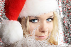 Girl in santa cloth Stock Image