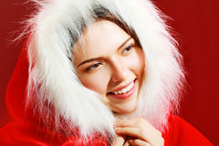 Girl in santa cloth Stock Photo