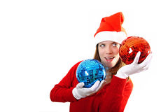 Girl santa with disco ball Stock Image