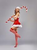 Girl in Santa dress stock image