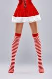 Girl in Santa dress stock photography
