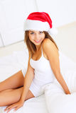 Girl in Santa hat Royalty Free Stock Photos