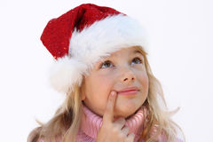 Girl in Santa hat Royalty Free Stock Photo