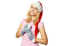 Girl in Santa hat Royalty Free Stock Images