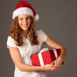 Girl in Santa Hat  Stock Photo