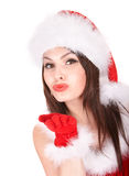 Girl in santa hat blow  kiss. Stock Images