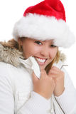 Girl in Santa hat and coat Royalty Free Stock Image