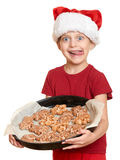 Girl in santa hat eat cookies and lick oneself - winter holiday christmas concept. Girl in santa hat eat cookies and lick oneself -a  winter holiday christmas Royalty Free Stock Photography