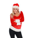 Girl in santa hat happy for Christmas Royalty Free Stock Photography
