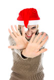 Girl in Santa hat showing hands stop Royalty Free Stock Photography