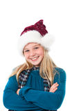 Girl with santa hat smiling Royalty Free Stock Image
