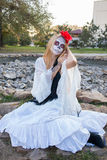Girl Santa Muerte. The girl in the image of Santa Muerte Royalty Free Stock Photos