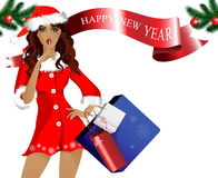 Girl-Santa with purchases and gifts. The white background and the inscription Happy new year Stock Photo