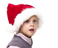 Girl with santa red hat Stock Photo