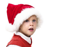Girl with santa red hat Royalty Free Stock Photos