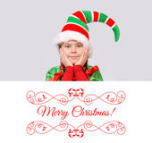 Girl Santa`s elf with the white banner. Royalty Free Stock Photos