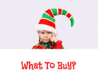 Girl Santa`s elf with the white banner. Royalty Free Stock Images