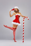 Girl in Santa's hat Royalty Free Stock Images