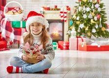 Girl in Santa's hat Royalty Free Stock Photography