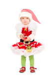 Girl in Santa's helper suit Stock Image