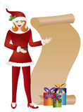 Girl Santa with Scroll List Illustration Royalty Free Stock Photo