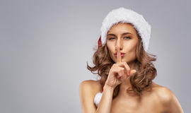 Girl in Santas hat royalty free stock photos