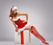 Girl in Santas hat stock image