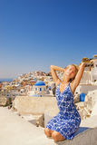 Girl on Santorini Island Royalty Free Stock Photos