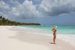 Girl in saona beach Royalty Free Stock Photos