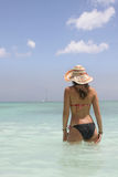 Girl in saona beach Stock Photos
