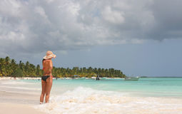 Girl in saona beach Royalty Free Stock Photography