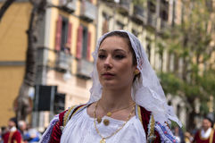 Girl with the Sardinian typical costumes Stock Images
