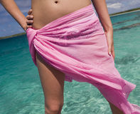 Girl in sarong - tropical beach - Cook Islands Royalty Free Stock Photo