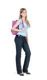 The girl with a satchel Royalty Free Stock Photography